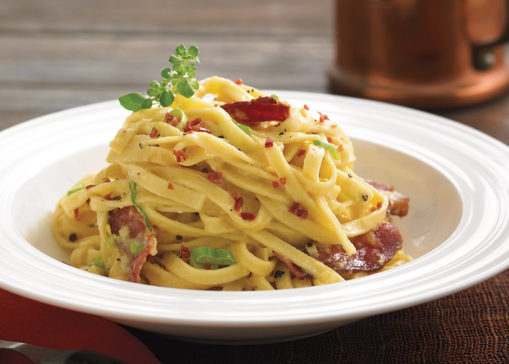 fresh pasta with duck carbonara sauce canards du lac brome. Black Bedroom Furniture Sets. Home Design Ideas
