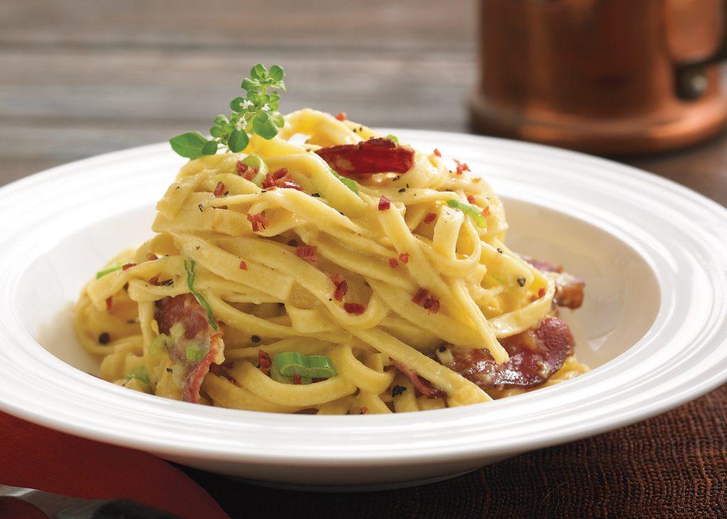 Fresh Pasta With Duck Carbonara Sauce Canards Du Lac Brome