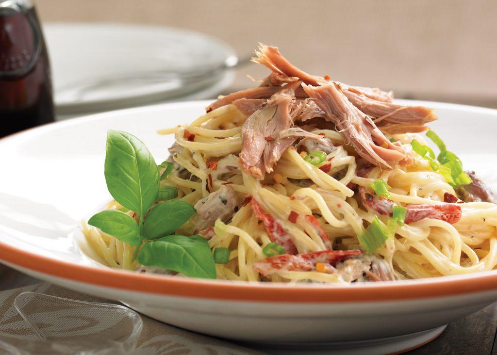 Spaghettis crémeux au canard confit